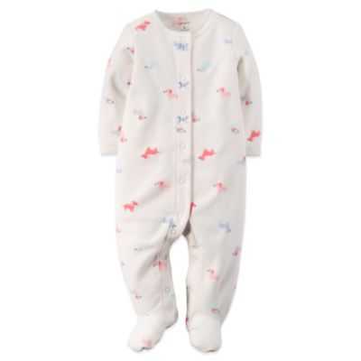 Carter's® Size 6M Snap-Front Fleece Dog Footie in Ivory/Pink