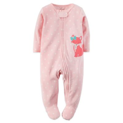 Carter's® Size 3M Fox Microfleece Zip-Front Footie in Pink/Blue