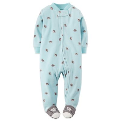 Carter's® Size 3M Football Microfleece Zip-Front Footie in Turquoise/Grey