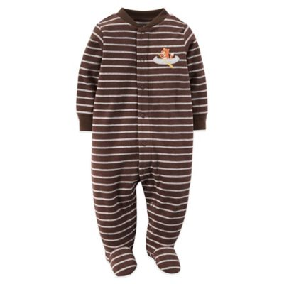 Carter's® Size 6M Snap-Front Striped Fleece Fox Footie in Brown