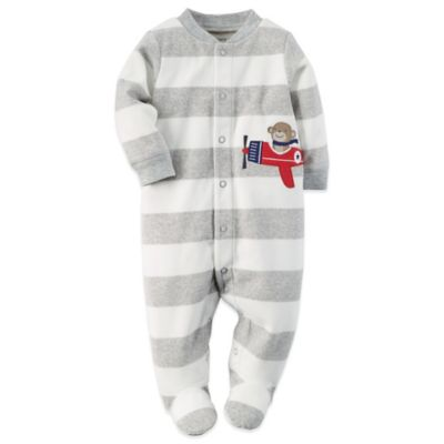 Carter's® Size 6M Snap-Front Striped Fleece Monkey Footie in Grey/White