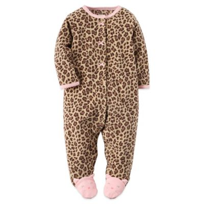 Carter's® Size 3M Fleece Leopard Print Footie in Brown/Pink