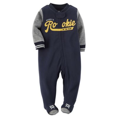 "Carter's® Size 9M ""Mommy's Rookie of the Year"" Zip-Front Fleece Footie in Navy/Grey"