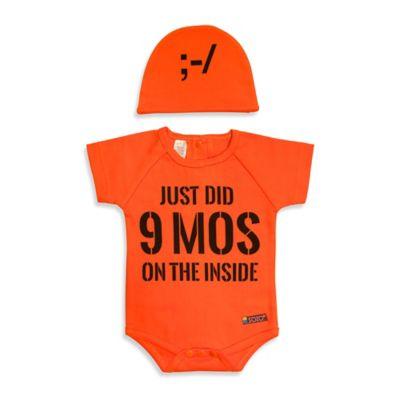 "Sozo® Size 3-6M 2-Piece ""Just Did 9 Months"" Bodysuit and Cap Set in Orange"