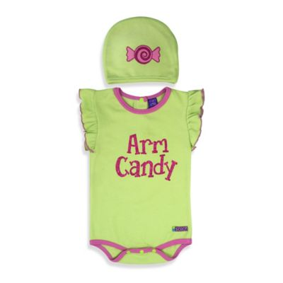 Sozo® Size 0-3M 2-Piece Arm Candy Bodysuit and Cap Set in Green