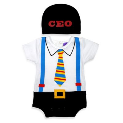 Sozo® Size 0-3M 2-Piece CEO Bodysuit and Cap Set in White/Black