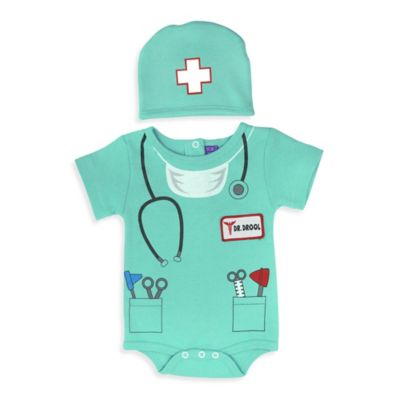 Sozo® Size 0-3M 2-Piece Doctor Bodysuit and Cap Set in Green