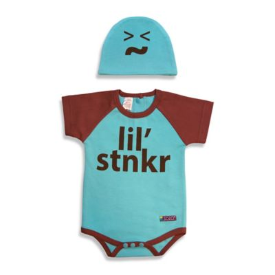 Sozo® Size 0-3M 2-Piece Lil Stinker Bodysuit and Cap Set in Blue