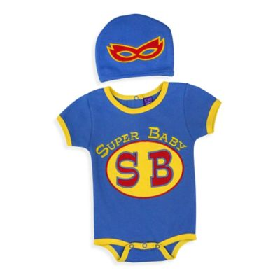 Sozo® Size 0-3M 2-Piece Super Baby Bodysuit and Cap Set in Blue