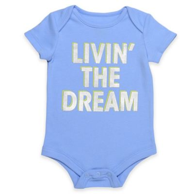"Babies With Attitude Size 6M ""Livin' the Dream"" Short Sleeve Bodysuit in Blue/White"