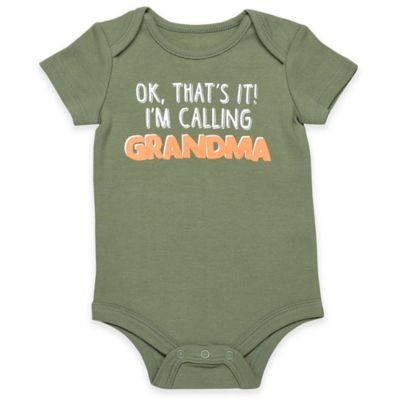 "Babies With Attitude Size 6M ""Calling Grandma"" Short Sleeve Bodysuit in Green"