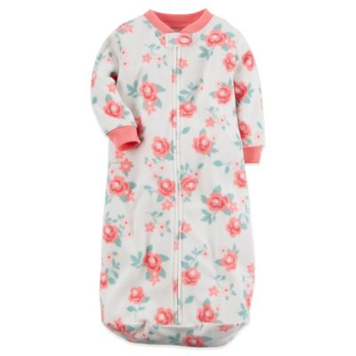 Carter's® Size 0-9M Microfleece Zip-Front Floral Sleepbag in Pink/Green