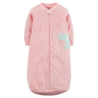Carter's® Size 0-9M Microfleece Zip-Front Dot Elephant Sleepbag in Pink/Blue