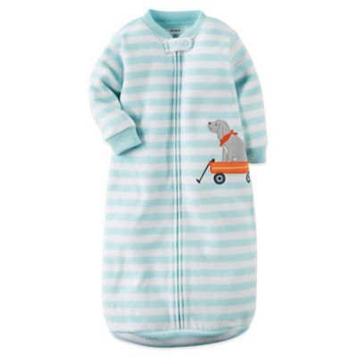 Carter's® Size 0-9M Microfleece Zip-Front Striped Dog Sleepbag in Blue