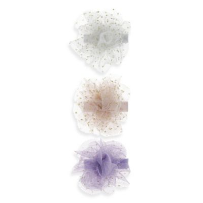 Capelli New York 3-Pack Mesh Glitter Flower Clips