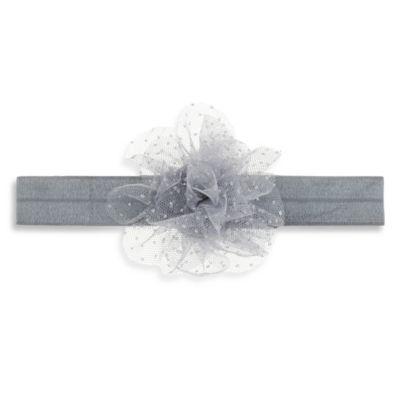 Capelli New York Infant Mesh Glitter Flower Headwrap in Silver