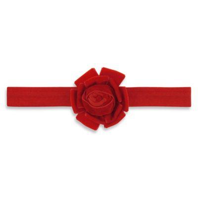 Capelli New York Infant Velvet Flower Headwrap in Red