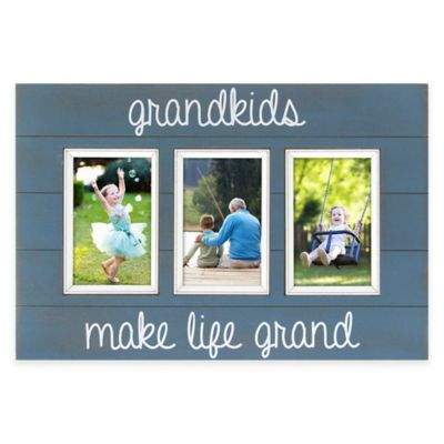 "Oracoke Sentiments 3-Photo ""Grandkids"" Collage Frame in Blue"
