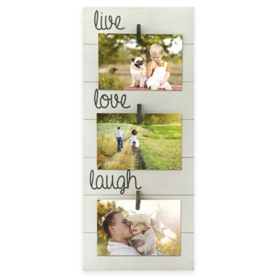 "Oracoke Sentiments 3-Photo ""Live Love Laugh"" Collage Frame in White"