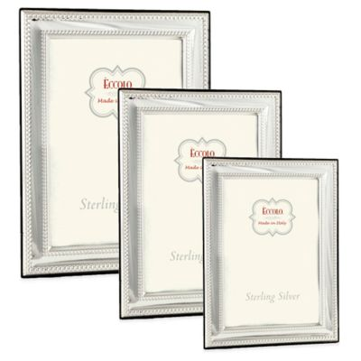Eccolo™ 8-Inch x 10-Inch Double Bead Square Corners Picture Frame in Sterling Silver