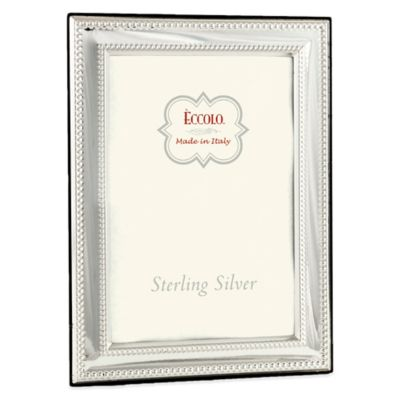 Eccolo™ 4-Inch x 6-Inch Double Bead Square Corners Picture Frame in Sterling Silver