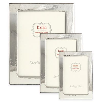 Eccolo™ 4-Inch x 6-Inch Hammered Flat Picture Frame in Sterling Silver