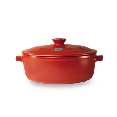 Emile Henry Flame Top 4.9-Quart Red Oval Casserole