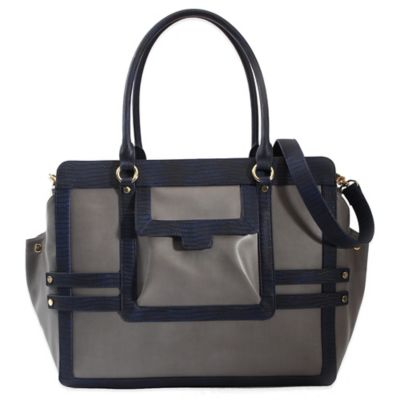 Evie Bett Vivien Diaper Bag in Charcoal/Navy