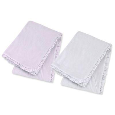 Just Born® Ruffle Velboa Interlock Blanket in Lilac