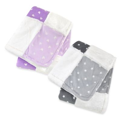 Just Born® Plush Patchwork Blanket in Charcoal/White