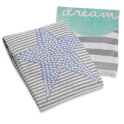 "Just Born® ""Dream"" Striped Plush Blanket in Aqua/Grey"