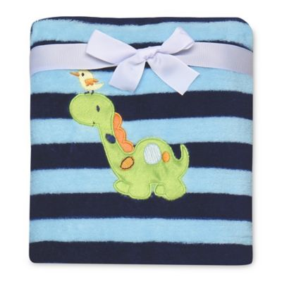 Baby Starters® Dinosaur Stripe Plush Blanket in Navy/Aqua