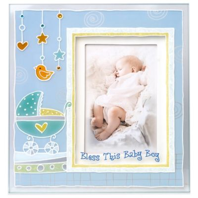 """Bless This Baby Boy"" 3D Picture Frame in Blue"