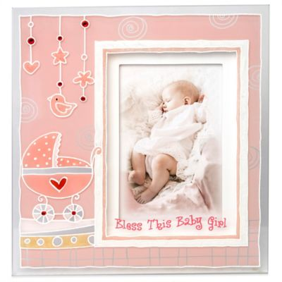 """Bless This Baby Girl"" 3D Picture Frame Pink"