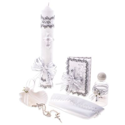 6-Piece Silver Cross Baptism/Christening Gift Set