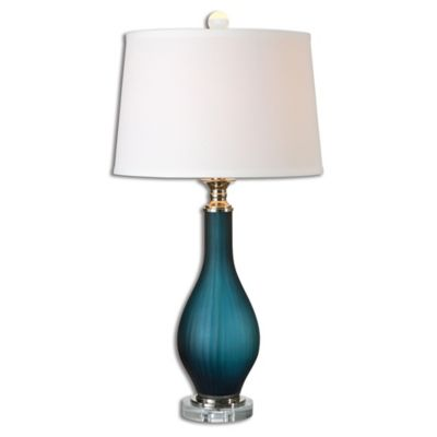 Uttermost Shavano Table Lamp in Midnight Blue with Linen Shade