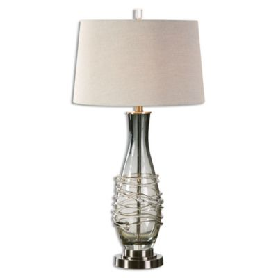 Uttermost Durazzano Table Lamp in Charcoal Grey with Linen Shade