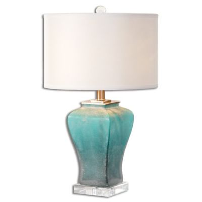 Uttermost Valtorta Table Lamp in Blue/Green with Linen Shade