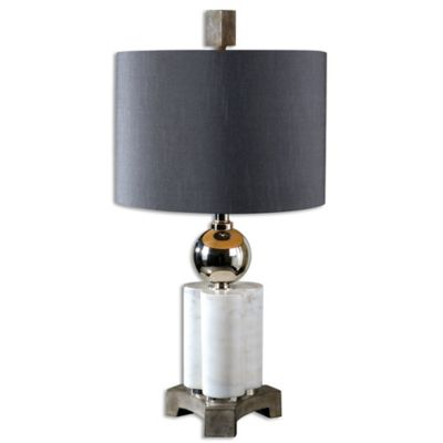 Uttermost Dantoni Table Lamp in White Alabaster with Charcoal Grey Linen Shade