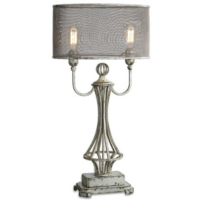 Uttermost Pontoise Table Lamp in Ivory/Bronze with Screen Shade