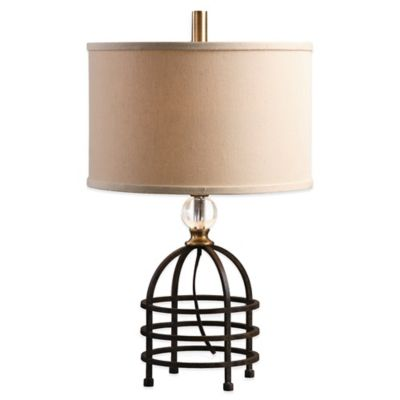 Uttermost Ladonia Table Lamp in Rust Black with Linen Shade