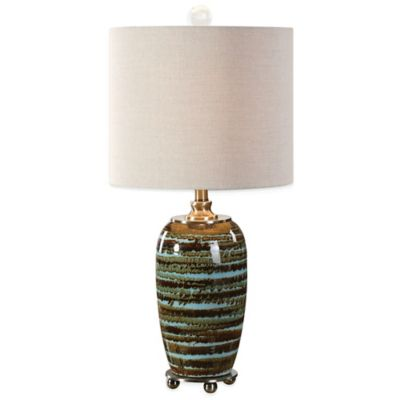 Uttermost Laurendine Table Lamp in Sky Blue with Linen Shade