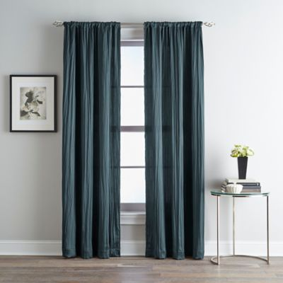 Fortuna Room Darkening Rod Pocket 95-Inch Window Curtain Panel in Teal