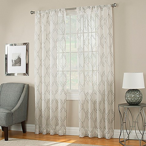 Buy ogee 84 inch sheer window panel in white from bed bath amp beyond