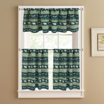 Bear Trail 24-Inch Lined Window Curtain Tier Pair in Green