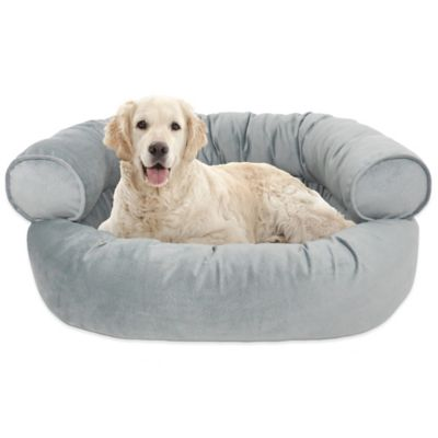 Orthopedic Microvelvet Comfy Couch Large Pet Bed in Brushed Nickel