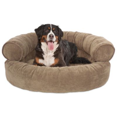 Orthopedic Microvelvet Comfy Couch Large Pet Bed in Bark