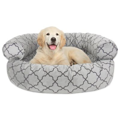 Orthopedic Microvelvet Comfy Couch Large Pet Bed in Charcoal Pattern