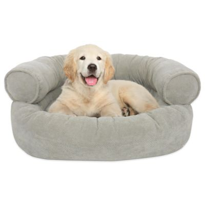 Orthopedic Microvelvet Comfy Couch Large Pet Bed in Wet Sand