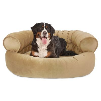 Orthopedic Microvelvet Comfy Couch Large Pet Bed in Bamboo